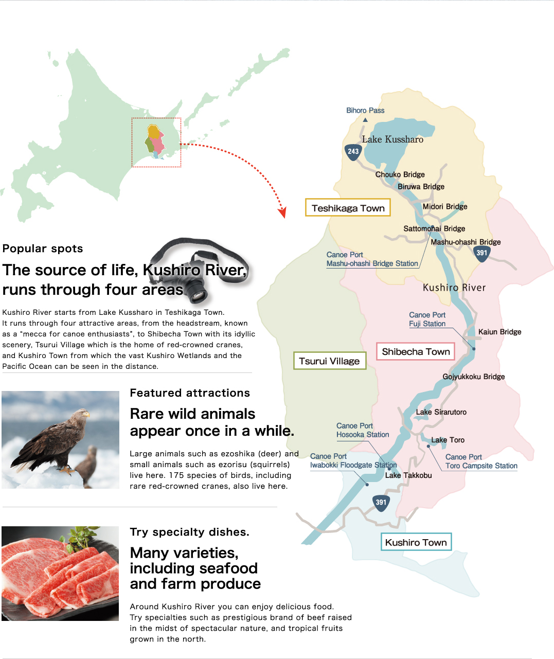 The source of life, Kushiro River, runs through four areas